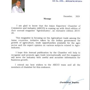 Letter from minister parshottam rupala state farmers welfare